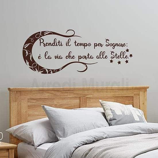 adesivi murali con frase sognare e con luna e stelle adesive colore marrone