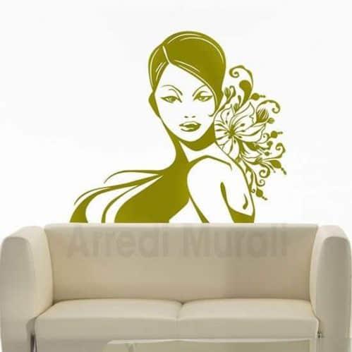 Adesivo da parete bellezza donna oro
