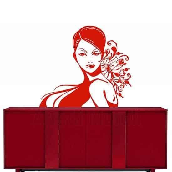 Adesivo da parete bellezza donna rosso