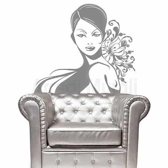 Adesivo da parete bellezza donna argento