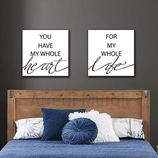 quadretti con scritte frase d'amore per le pareti della camera matrimoniale