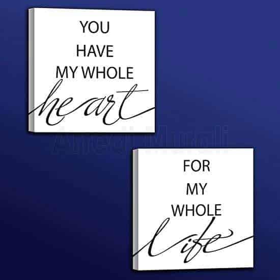 quadretti con scritte frase d'amore in inglese per decoro pareti stanza da letto