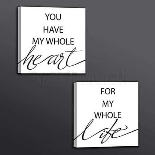 quadretti con scritte con frase d'amore per le pareti della camera da letto