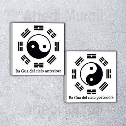 Quadri moderni Ba Gua arredamento Feng Shui sfondo bianco stampa nera