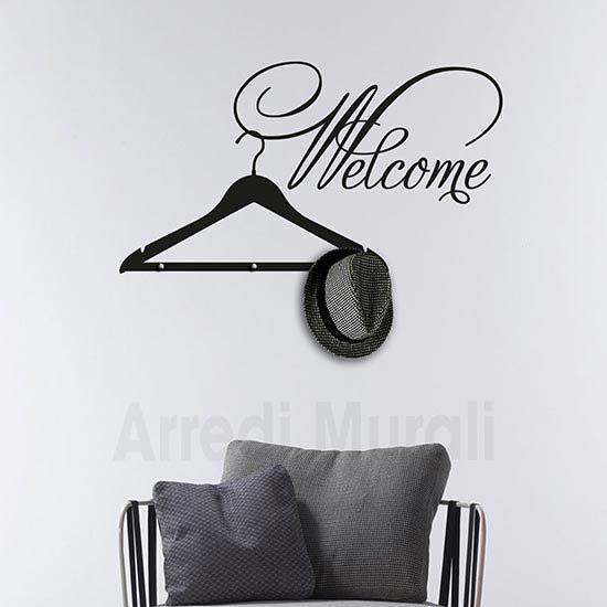 stickers welcome appendiabiti con scritta adesiva da parete e 3 pomelli in metallo per appenderci indumenti leggeri