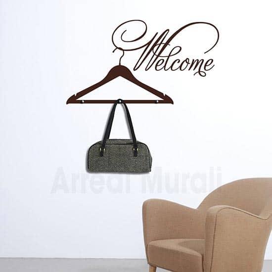 stickers welcome appendiabiti con scritta adesiva da parete e 3 pomelli in metallo