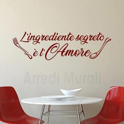 scritte adesive cucina in frase adesiva per pareti o per altre superfici lisce