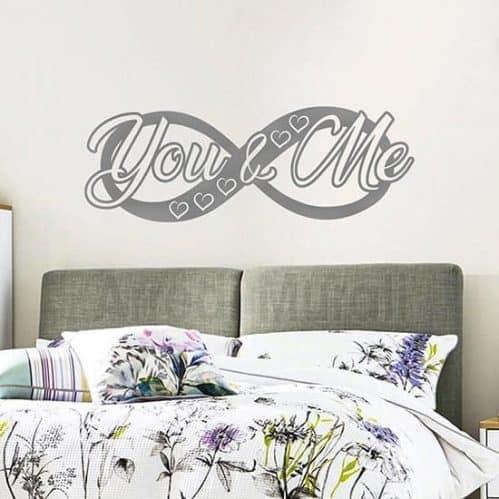 Stickers da parete infinito con scritta you and me adesiva