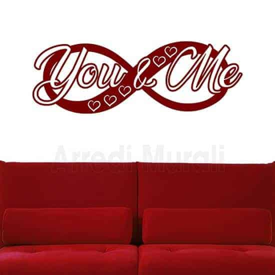 stickers da parete infinito con scritte adesive you and me