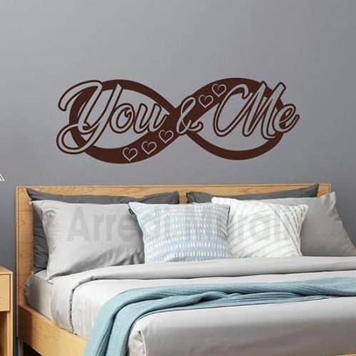 stickers da parete infinito con scritta adesiva you and me per la camera da letto