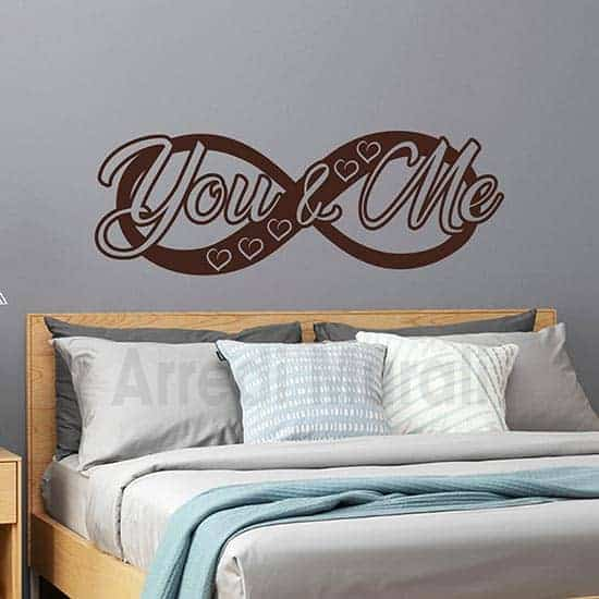 stickers da parete infinito con scritta adesiva you and me per la camera da letto