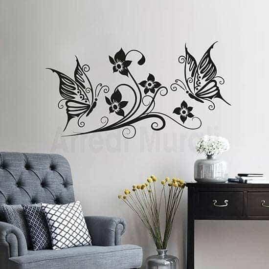adesivi murali fiori e farfalle nero