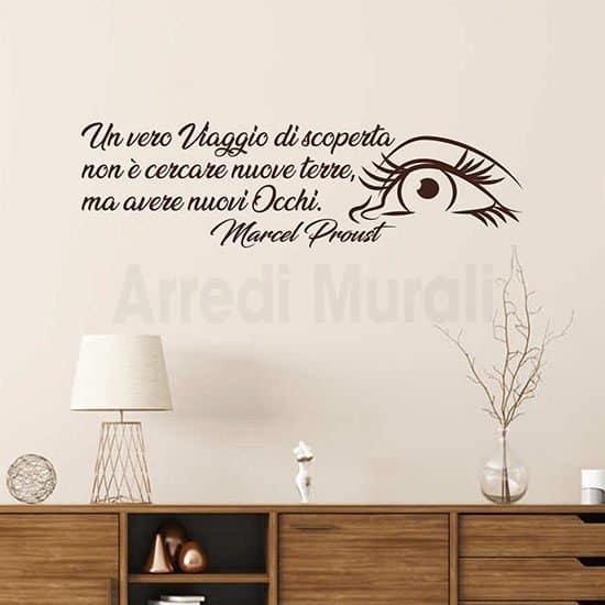 adesivi murali aforisma proust con frase adesiva e disegno adesivo di un occhio colore marrone