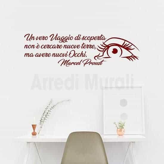 adesivi murali citazione proust colore bordeaux occhio e frase adesiva
