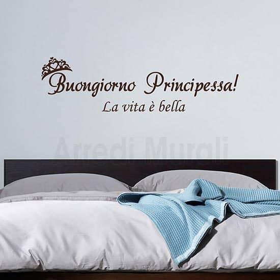 adesivi murali buongiorno principessa una frase adesiva con scritto buongiorno principessa la vita e bella, marrone