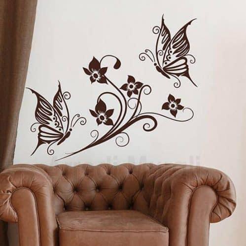 adesivi murali fiori e farfalle decorazioni adesive murali colore marrone
