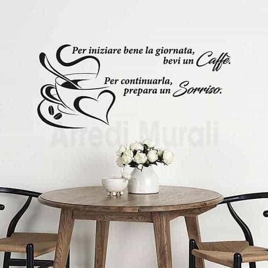 Adesivi murali frase caffè colore nero