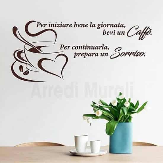 Adesivi murali frase caffè con disegno tazzina adesiva