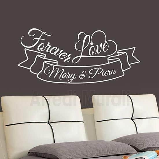 adesivi per pareti personalizzati con nomi e frase forever love per decorazione testata letto