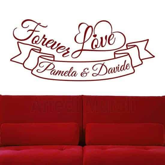 adesivi per pareti personalizzati con nomi e frase adesiva inglese forever love