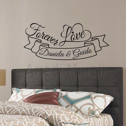adesivi per pareti personalizzati con nomi e frase forever love per decoro camera da letto