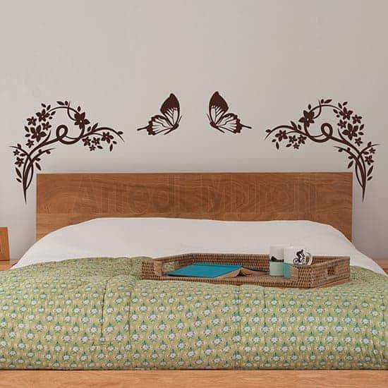 decoro testata letto con farfalle e fiori in adesivi murali