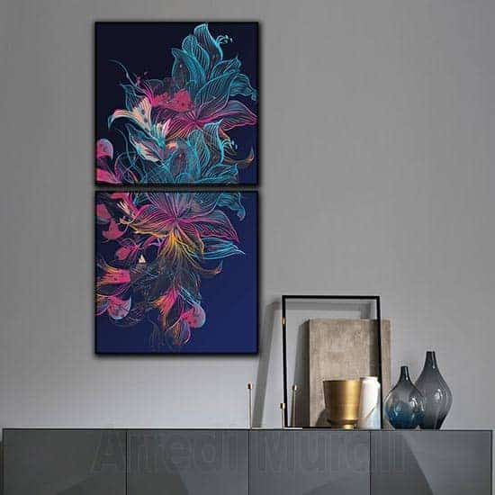 2 quadri moderni astratti verticali floreali