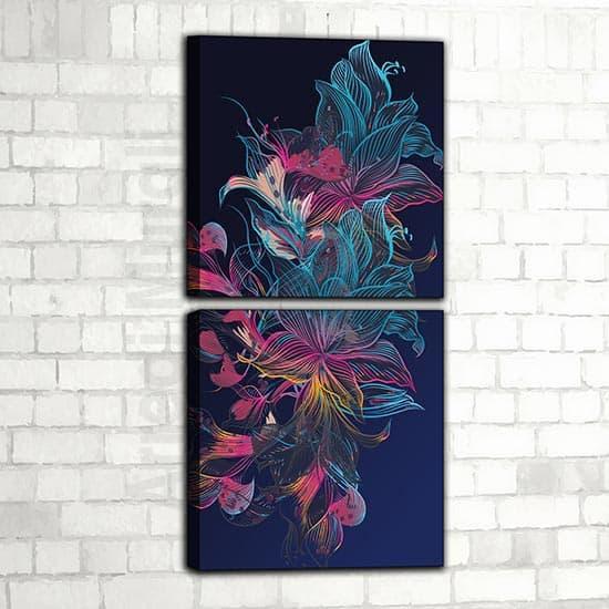 quadri moderni astratti verticali a tema floreale 2 quadri con stampa su tela