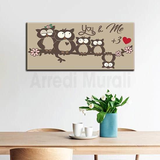 quadro gufetti simpatica famiglia ispirato ad una famiglia di 5 persone
