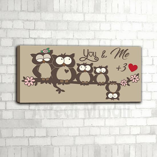 quadro gufetti famiglia ispirato ad una simpatica famiglia di 5 persone, decorazione da parete simpatica e divertente