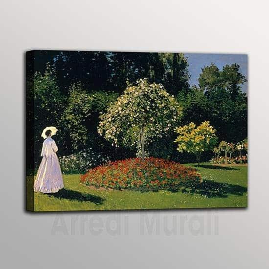 quadro moderno Monet riproduzione de la Signora in giardino a sainte adresse