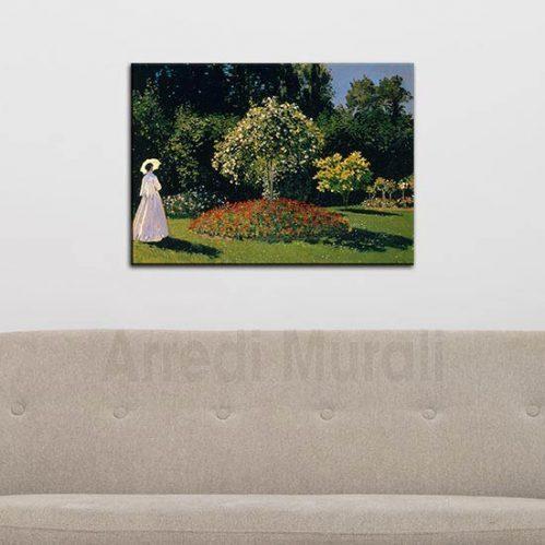 quadro moderno Monet riproduzione Signora in giardino a sainte adresse stampa su tela