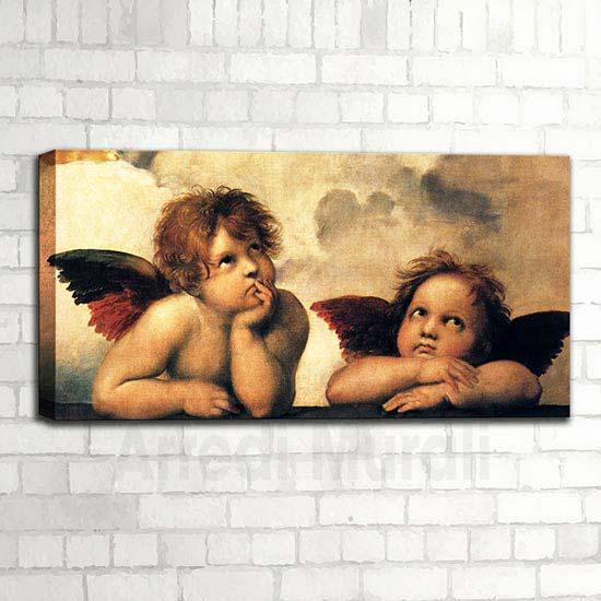Riproduzione d'autore Raffaello i 2 angeli pensosi della Madonna sistina