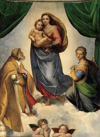 Angeli riprodotti su quadro dall'opera di Raffaello Madonna Sistina
