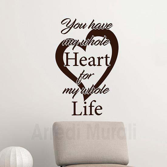 scritte adesive murali con cuore e frase inglese colore marrone