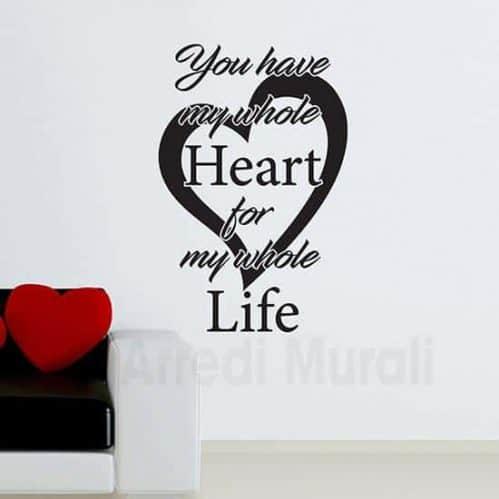 scritte adesive murali con cuore e frase colore nero