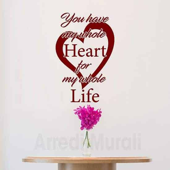 scritte adesive cuore e frase inglese colore rosso