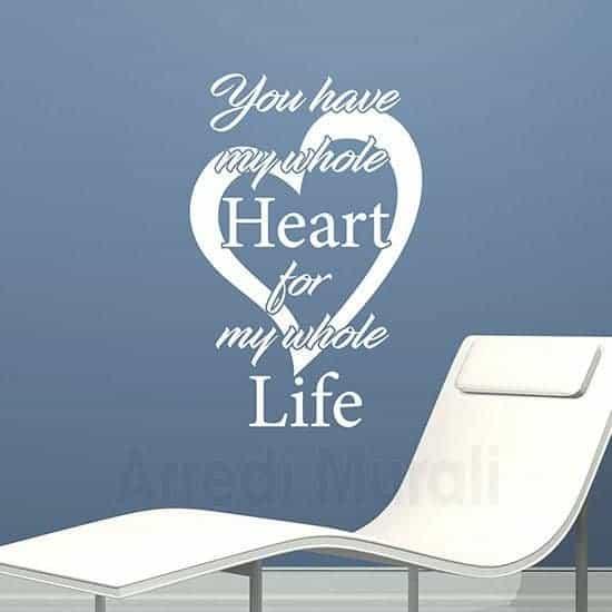 scritte adesive cuore e frase inglese bianco