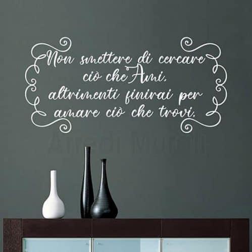 scritte adesive per pareti frase motivazionale colore bianco