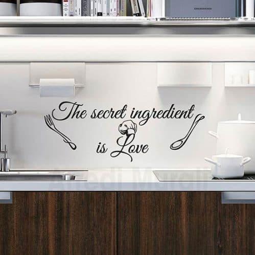 stickers cucina con frase inglese e 2 disegni adesivi di posate