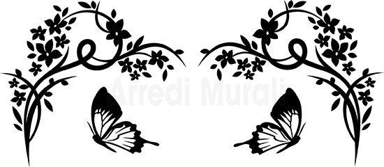 Decoro testata letto con fiori e farfalle lo riceverai in un unico foglio e sarà da comporre a tuo piacimento