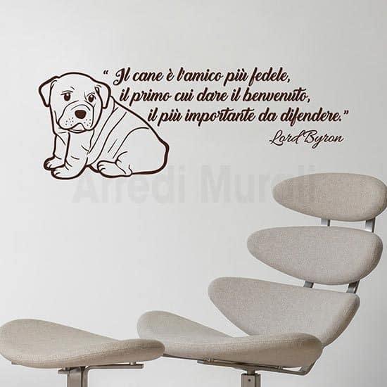 Adesivi da parete dedica al cane con frase adesiva e disegno adesivo di cucciolo