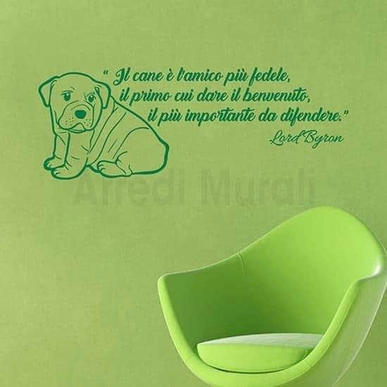 Adesivi da parete dedica al cane con frase adesiva e disegno adesivo di un cucciolo
