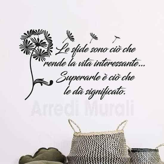 adesivi da parete frase motivazionale con soffione colore nero