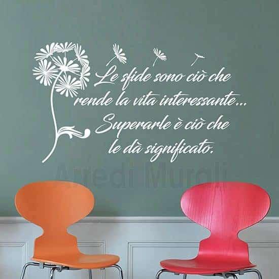 adesivi da parete frase motivazionale con soffione colore bianco
