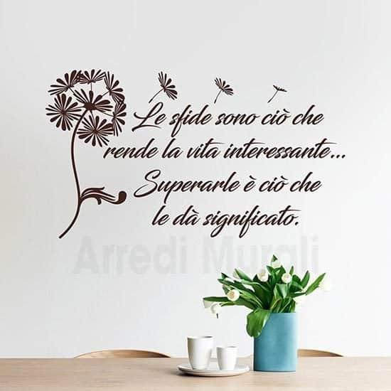 adesivi da parete frase motivazionale con soffione colore marrone