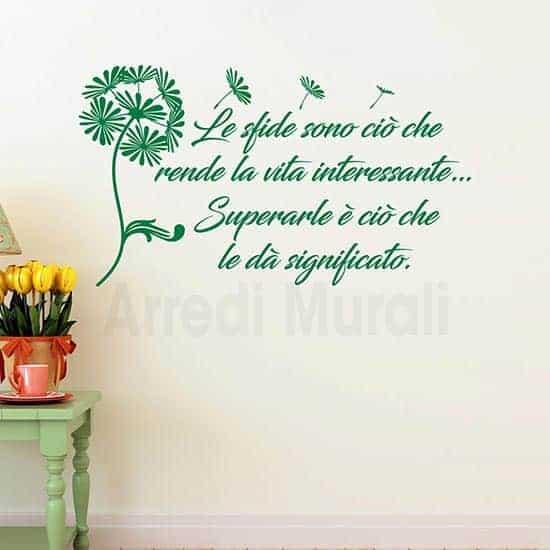 adesivi da parete frase motivazionale con soffione colore verde