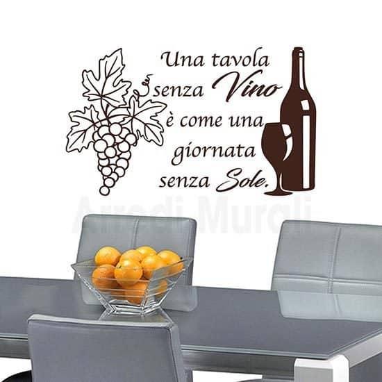 Adesivi da parete frase vino marrone