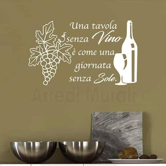 Adesivi da parete frase vino bianco