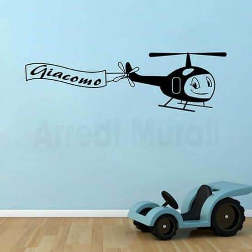 adesivi murali aeroplano con nome personalizzato bimbo